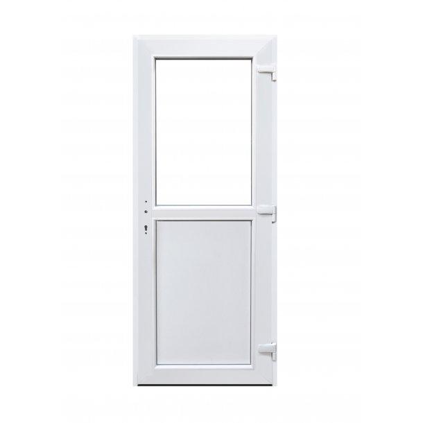 Facadedør 89 X 198  i hvid Plast med vindue