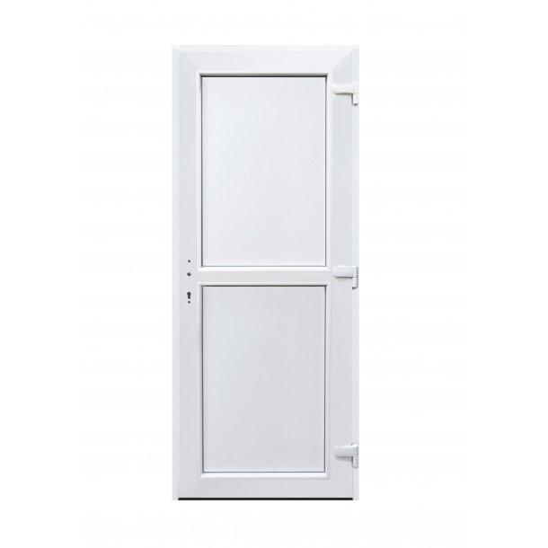 Facadedør 110 X 212 i plast i hvid PVC Med panel i top og bund