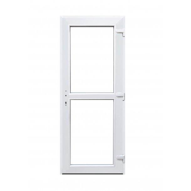 Facadedør 79 X 179 i Hvid plast med vindue Højre ud