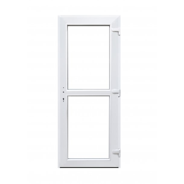 Facadedør 89 X 212 i Hvid plast med vindue