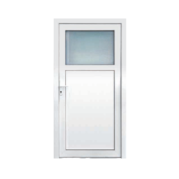 Udhusdør 89 x 212 i plast i hvid PVC med vindue
